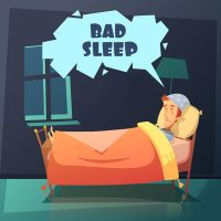 Color illustration depicting man in bed at night with nightcap near gramophone with title bad sleep vector illustration